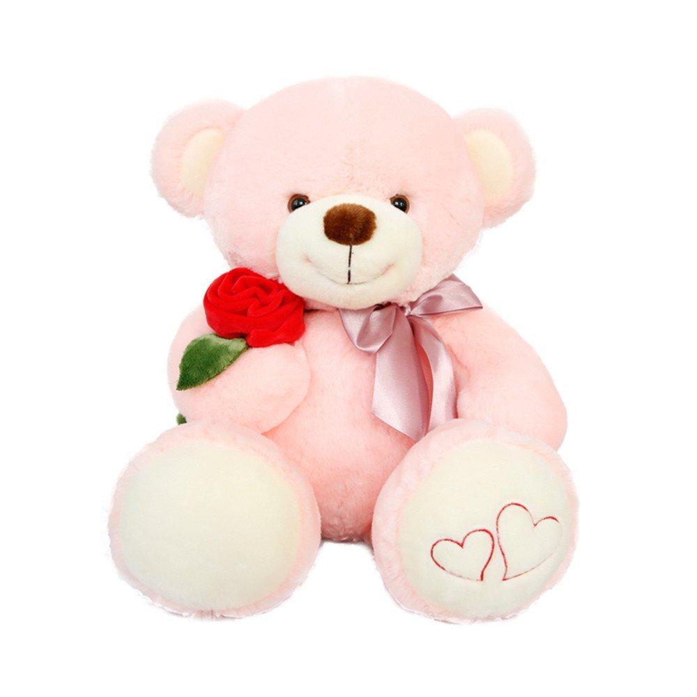 Hollwald® Peluche de Oso con rosa en la mano, ragalo para parejas para expresar el amor, regalo de cumpleaños (55cm, Rosas rosadas): Amazon.es: Juguetes y ...
