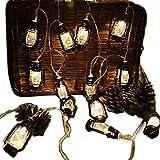 Gzero 30 LED Black Lantern Mini Kerosene String Lights For Patio Garden Holiday Home Decorations (Warm white light)