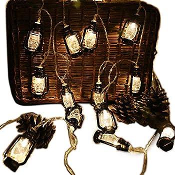 20 LED Black Lantern Mini Kerosene String Lights For Patio Garden Holiday  Home Decorations (Warm White Light)