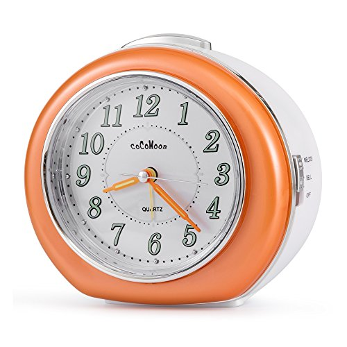 Quartz Alarm Clock, COCOMOON Analog Clock,with Loud Mechanical Bell Birdsong Melody Alarm,Silent Sweep Seconds,Simple to Set Clocks,Nightlight,Snooze,Luminous Hands and 8 alarm music can be choosed (Alarm Clock Birdsong)