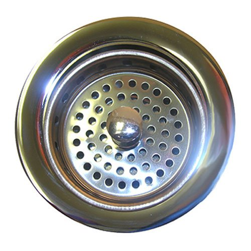 LASCO 03-1039 Heavy Duty Brass Body Chrome Plated Kitchen Sink Basket Strainer Assembly for 3-1/2-Inch Opening