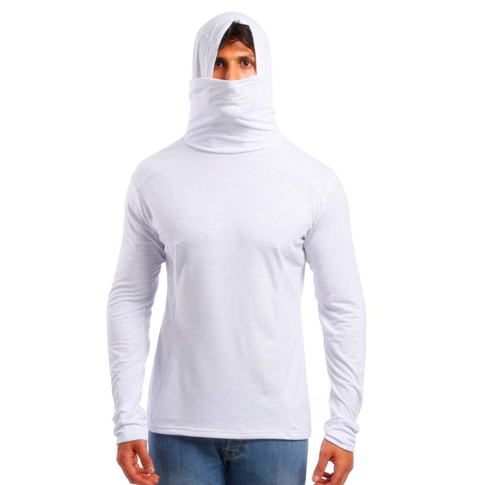 GREFER Men's Hoodie Slim Fit Soft Turtleneck Long Sleeve Pullover T-Shirt White by GREFER
