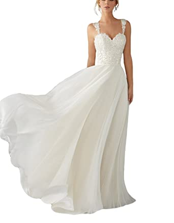 f2b4b1bce94 Andybridal A Line Spaghetti Straps Sweetheart Lace Chiffon Bridal Gowns  Beach Wedding Dress White 2