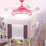 TiptonLight Ceiling Fans Remote Control Modern Retractable Blades LED Ceiling Fan Crystal Chandelier Pink Finished Modern Style for Bedroom,Indoor,Living Room and Children's Room …