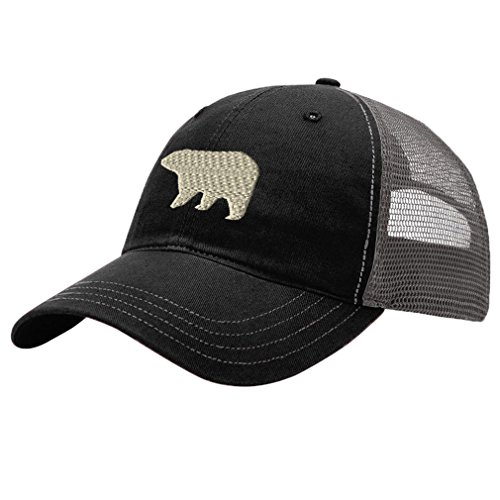 Polar Bear Style 1 Embroidery Design Richardson Cotton Front and Mesh Back Cap Black/Charcoal (Bear 1 Embroidery)