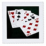 3dRose Alexis Photo-Art - Poker Hands - Poker Hands Four Of A Kind Nine Eight - 20x20 inch quilt square (qs_270307_8)