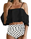 Holipick Women Two Piece Ruffled Flounce Off Shoulder Tankini Top With Polka Dot Bottoms Swimsuits Set Black M