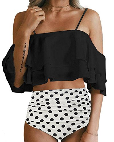 iece Off Shoulder Ruffled Flounce Bikini Top With Polka Dot Bottom Swimsuits Set Black L ()