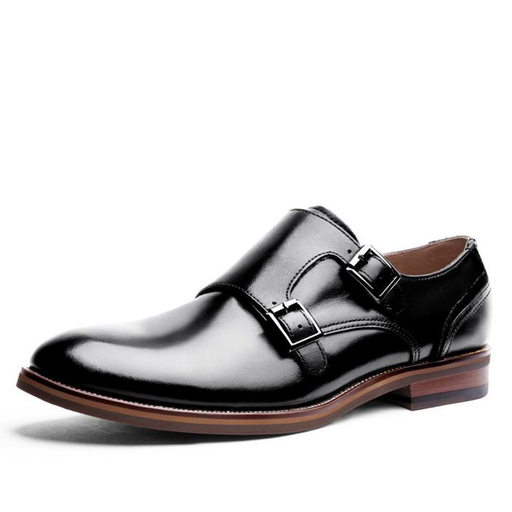 Nuevos zapatos casuales hebilla elegante de cuero negro / marrón para hombre UK TALLA 6 7 8 9 10 11 GAOLIXIA ( Color : Black , tamaño : 42 ) 42|Black
