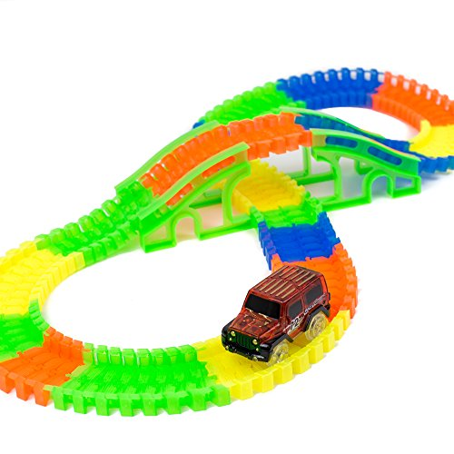 Toysery Bend A Path Glow in The Dark Car and Track Set (150 Pieces) with 1 Light-Up SUVs Set (Colors May Vary)