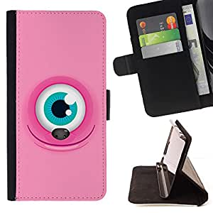GIFT CHOICE / Billetera de cuero Estuche protector Cáscara Funda Caja de la carpeta Cubierta Caso / Wallet Case for Apple Iphone 6 // Cool Pink Monster Eye //