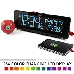 MARATHON CL030063BK USB Clock with Color Changing LED Display, Alarm, 2 Fast Charging USB Ports, Date, Temperature & Humidity. Emergency Clock with Power and Memory Backup
