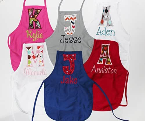 Personalized Child Size Red Kids Apron with Name and Appliqued Initial, Choose Your Fabrics and Apron Color
