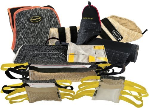 Dean & Tyler 16-Piece Professional Training Bundle Set for Dogs with 1 Tri-Bite Sleeve/1 French Linen Cover/1 Hidden Sleeve/1 Advanced Bite Builder/12 Mixed Tugs by Dean & Tyler