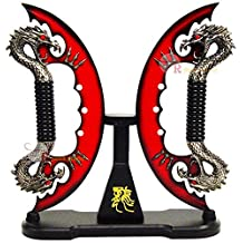 """11"""" Red Fire Blade Dual Fantasy Dragon Sword Daggers Knife With Stand"""