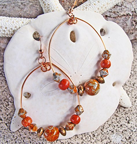 Handmade Copper Teardrop Earrings with Brick, Copper and Shades of Gray Glass Beads - Glass Bead Bricks