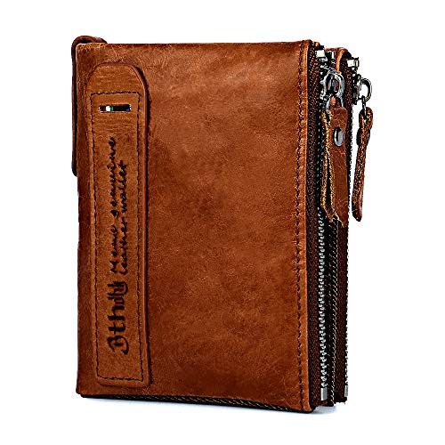 Mens Wallet, Minimalist Vintage Cowhide Leather Wallet With Coin Zipper Pocket (Brown) ()