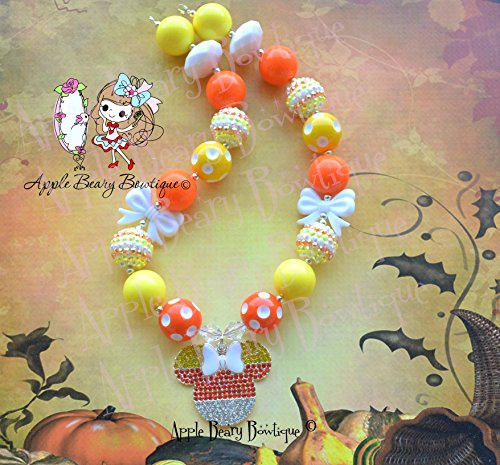 Candy Corn Minnie Mouse Chunky Bubblegum Necklace - Candy Corn Minnie Mouse Necklace - Halloween Chunky Necklace -