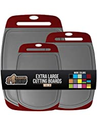 Gorilla Grip Original Oversized Cutting Board, 3 Piece, BPA Free, Juice Grooves, Larger Thicker Boards, Easy Grip Handle, Dishwasher Safe, Non Porous, Extra Large, Kitchen, Set of 3, Gray Red
