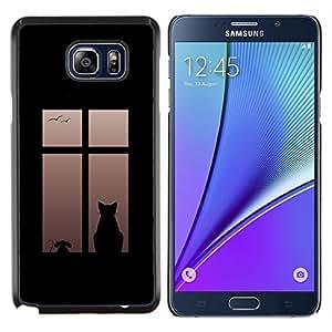 LECELL--Funda protectora / Cubierta / Piel For Samsung Galaxy Note 5 5th N9200 -- Gato En Ventana --