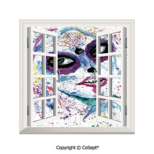 SCOXIXI Window Wall Sticker,Grunge Halloween Lady with Sugar Skull Make Up Creepy Dead Face Gothic Woman Artsy,3D Window View Decal Home Decor Deco Art (26.65x20 inch)]()