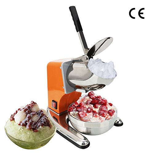 ROVSUN Ice Shaver Machine Commercial Dual Blade 220lbs/h, Stainless Steel Electric Ice Crusher Shaved Ice Machine 1400 rpm Snow Cone Maker(Orange)