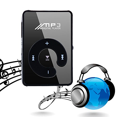 dalina MP3 Player Compact and Portable Music Media Player with Fashion Clip SD TF Mirror MP3 for Sport Runing Earbud Headphones