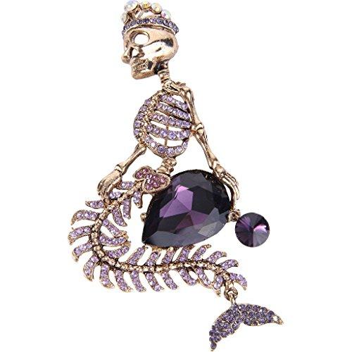 Purple Pirate Hat (EVER FAITH Austrian Crystal Halloween Mermaid Skull Crown Teardrop Brooch Purple Antique)