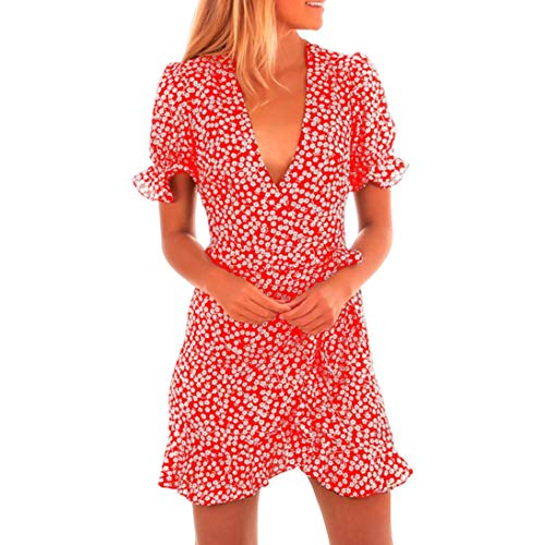 Women V-Neck Summer Dress Floral Printed Short Sleeve Beach Ruffled Skirt (Red, M)