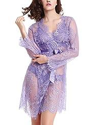 Liqqy Women's Floral Lace Robe Sexy Bathrobe Night Dressing Sleepwear