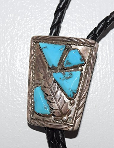 Traditional Navajo Bolo Tie with Natural Sleeping Beauty Turquoise