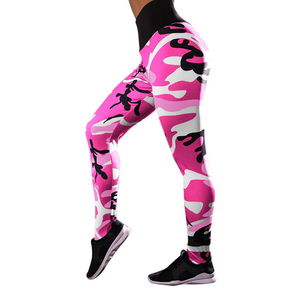Zalanala Womens Camouflage Print Workout Leggings Fitness Sports Gym Running Athletic Yoga Pants (S, Red)
