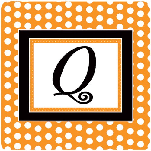 Caroline's Treasures CJ1033-QFC Monogram-Orange Polkadots Foam Coasters (Set of 4), Initial Letter Q, 3.5' H x 3.5' W, Multicolor