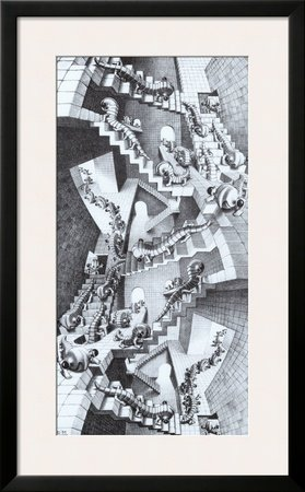 House of Stairs Framed Art Poster Print by M. C. Escher, 23x37