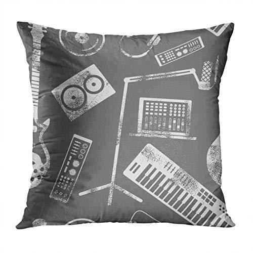 - Menmek Throw Pillow Cover Decorative Music Production Seamless Pattern Speaker Hidden Zipper Car Sofa Meeting Room Home Decor Cushion Cover Pillowcase 16 x 16 Inch