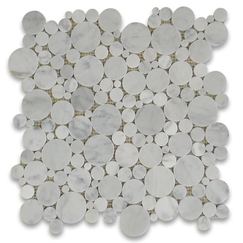 Carrara White Italian Carrera Marble Bubble Round Mosaic Tile Polished chic