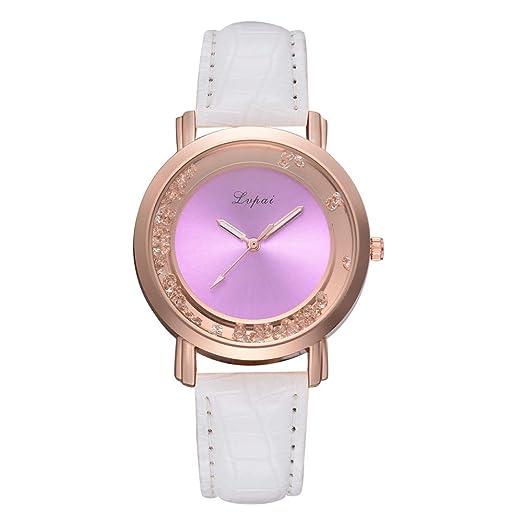 leey Relojes de Pulsera para Chicas Reloj de Cuarzo para Mujer Reloj de Mujer Analógico de Cuarzo con Correa de Piel 38mm Bianco: Amazon.es: Relojes