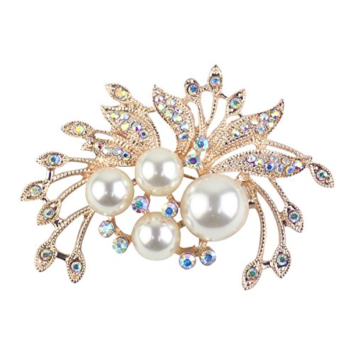 Merdia Brooch Pin for Women and Girls Flower Brooch with Shiny Created Created Pearls - Goldtone
