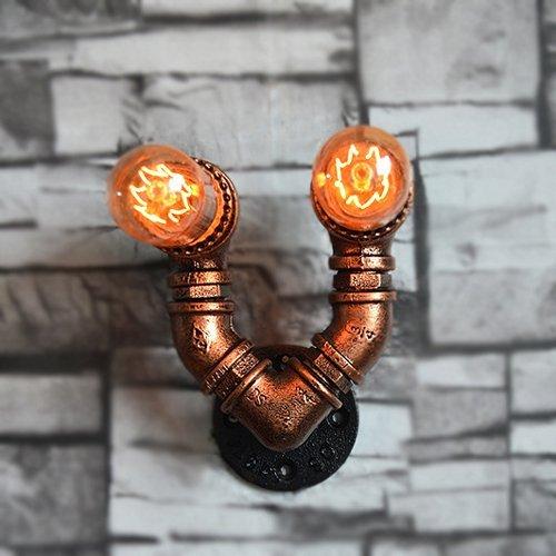 ACZZ Amerikanischen 2-Heads Wasserpfeife Schmiedeeisen Wandleuchte Retro Steampunk Metall Wandleuchte Bar Wohnzimmer Keller Cafe Dekoration Wandlaterne Wandleuchte E27 Birne