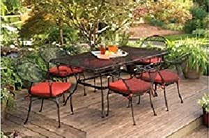 Premium Patio Dining Set. This Red Outdoor Patio Furniture Will Brighten Up Any Decor.