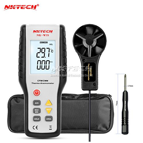 NKTECH Digital Anemometer Thermometer CFM/CMM NK-W3S LCD Backlit Airflow Wind Meter Air Velocity Volume Thermo Temperature Tester For Windsurfing Kite Flying Sailing Surfing Fishing (Voltage Jack Low Quick)