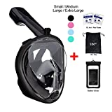 180° Snorkel Mask View for Adults and Youth. Full Face Free Breathing Design.[Free Bonuses] Cell Phone Universal Waterproof Case (Dry...