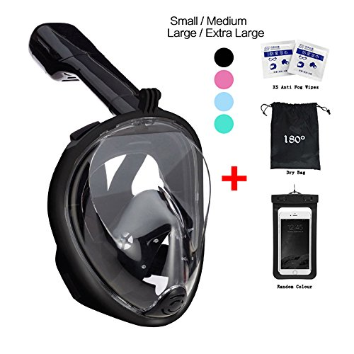 Rebreathing Bags - 180° Snorkel Mask View for Adults and Youth. Full Face Free Breathing Design.[Free Bonuses] Cell Phone Universal Waterproof Case (Dry Bag) and Anti-Fog Wipes (Black, Large/Extra Large)