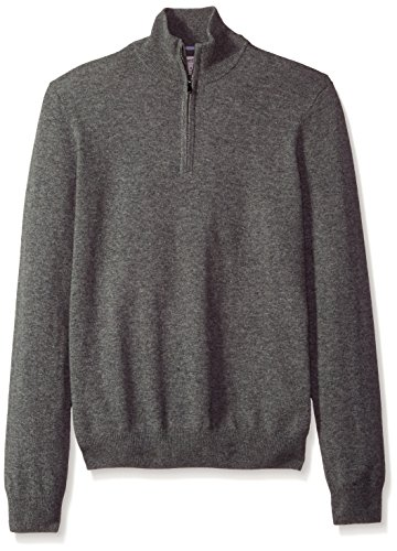 Phenix Cashmere Men's 1/4 Zip Sweater With Contrast Color Tipping, Gry/Lt. Blue, Small by Phenix Cashmere (Image #1)