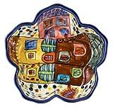 Hand-Painted Townscape Ceramic Petal Bowl, Set of 2 - 5''Dx1.25''H, 5 OZ - Village