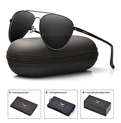 LUENX Mens Aviator Sunglasses Polarized : UV 400 Protection with Case 60MM