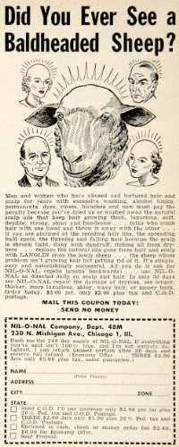 1953 Ad Nil-O-Nal Lanolin Hair Care Tonic 230 N Michigan Ave Chicago IL Sheep - Original Print Ad (Ave Michigan Chicago Il)