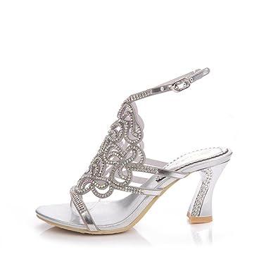 Frauen Schuhe Neue Sommer Schöne Große Kristall Mode Sexy Weibliche Sandale Schuhe Strass High Heel Sandaletten Damen Mode Lässig Strand Sandale (Color : Lila, Größe : 42) Cai