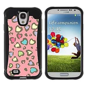 Fuerte Suave TPU GEL Caso Carcasa de Protección Funda para Samsung Galaxy S4 I9500 / Business Style Cheetah Fur Pattern Pink Yellow