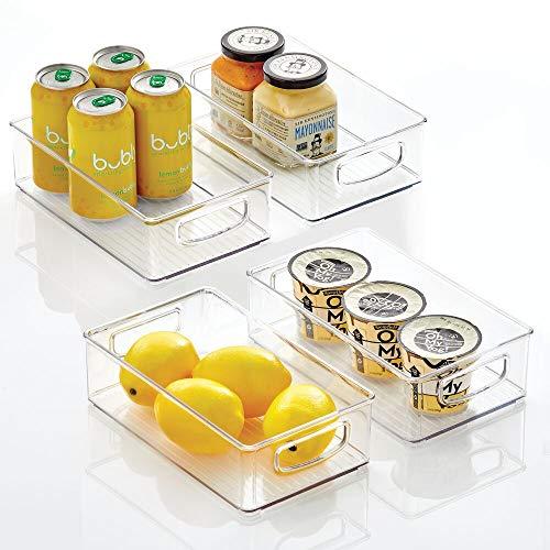 mDesign Plastic Kitchen Pantry Cabinet, Refrigerator or Freezer Food Storage Bins with Handles – Organizer for Fruit…